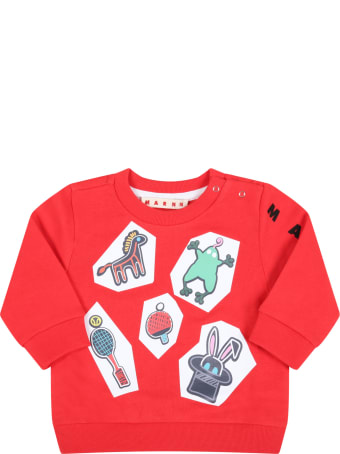 Marni Red Sweatshirt For Babykids With Black Logo