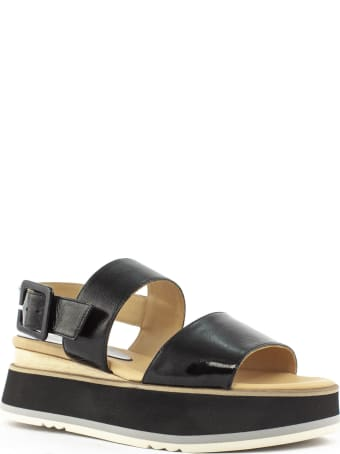 Paloma Barceló Black Leather Javari Sandals
