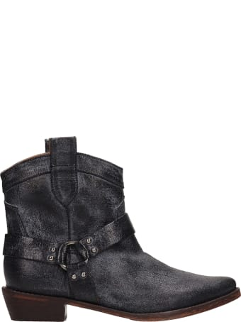 Coral Blue Tex Laminated Black Leather Boots