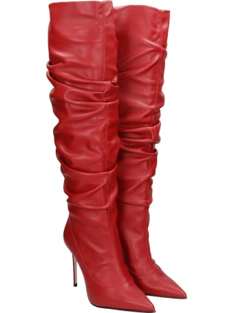 Le Silla High Heels Boots In Red Leather