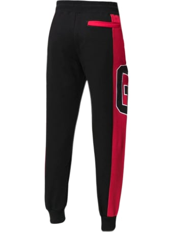 GCDS Black And Red Cotton Trackpants