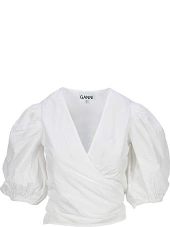 Ganni Plain Cotton Poplin Wrap Blouse