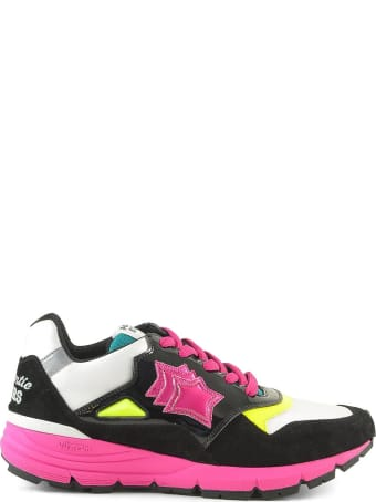 Atlantic Stars Black Sneakers W/pink Rubber Sole