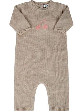 Bonpoint Beige Babygrow For Babygirl With Cherries