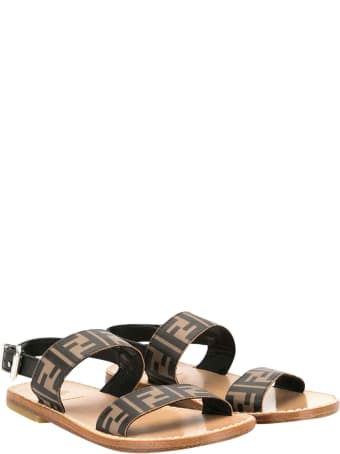 Fendi Brown Logo Sandals