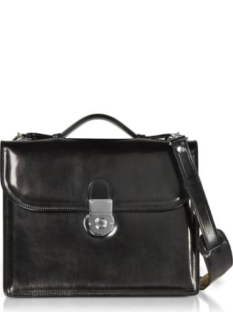 L.A.P.A. Classic Black Leather Briefcase