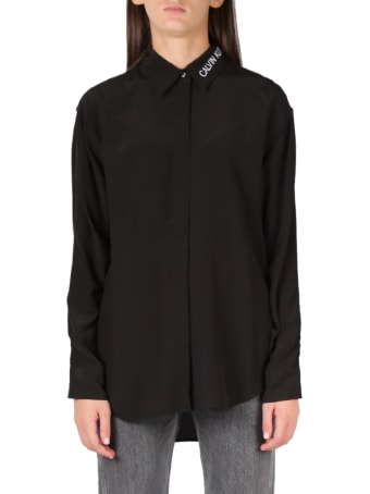 Calvin Klein Jeans Black Logo Shirt With Mesh Insert