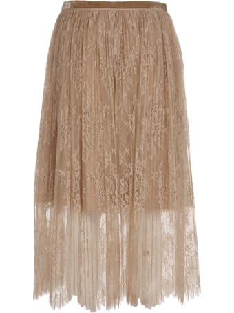 Vivetta Pink Lace And Plissè Midi Skirt