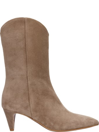 Julie Dee High Heels Ankle Boots In Taupe Suede