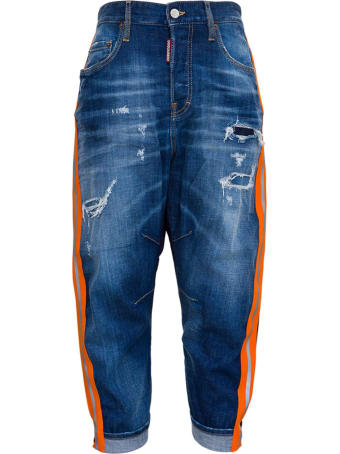 Dsquared2 Bicolor Jeans With Side Bands Detail