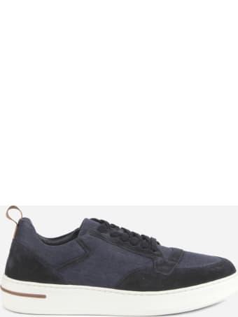 Loro Piana Newport Walk Sneakers In Linen Denim And Suede