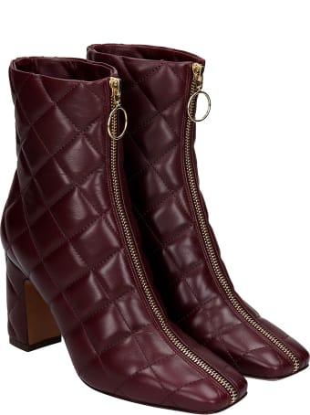 L'Autre Chose High Heels Ankle Boots In Bordeaux Leather