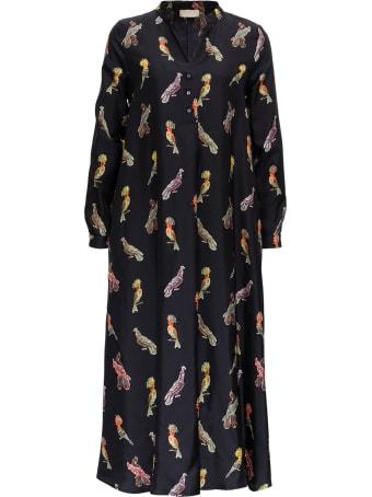 Momonì Birds Long Silk Dress