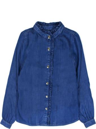 Chloé Blue Ruffle-trimmed Denim Shirt