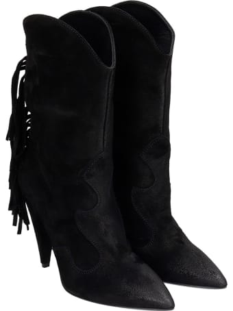 Strategia High Heels Ankle Boots In Black Suede