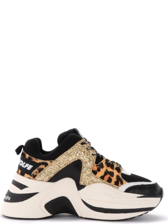 Naked Wolfe Track Sneaker In Glittery Leather With Animalier Inserts