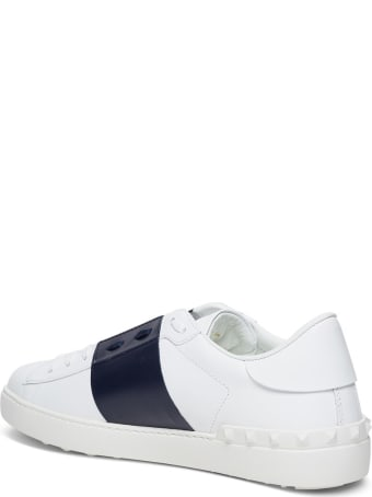 Valentino Garavani Open Sneakers In White And Blue Leather