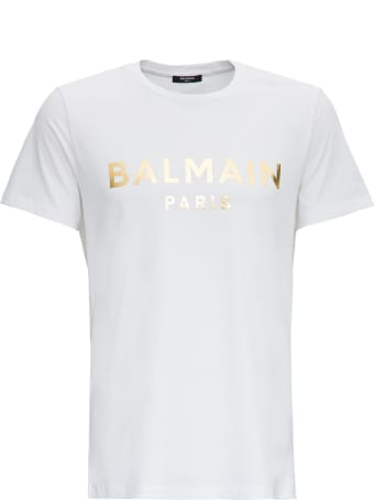Balmain Cotton T-shirt With Laminated Logo Print