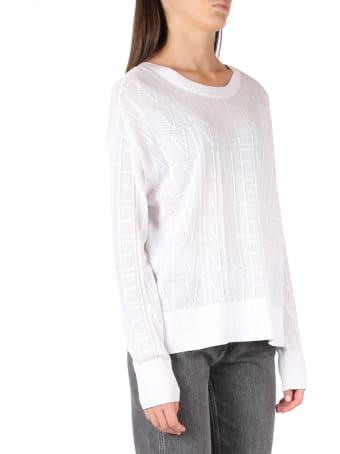 Calvin Klein Jeans White Ck Mesh Knitwear