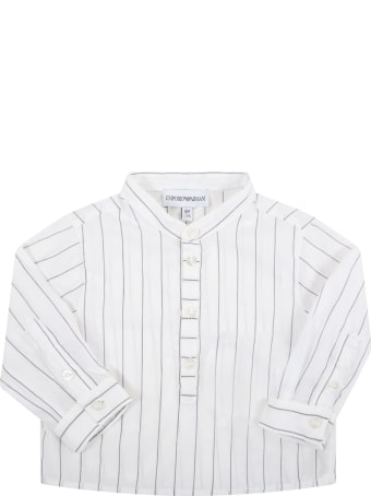 Armani Collezioni White Shirt For Baby Boy With Eagle