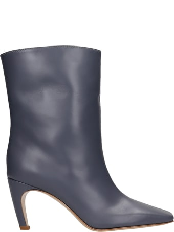 GIA COUTURE Atena 80 High Heels Ankle Boots In Grey Leather