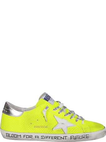 Golden Goose Fluorescent Yellow Leather Super-star Sneakers