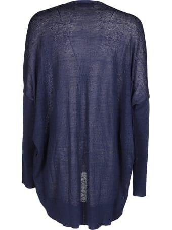 Ma'ry'ya Navy Blue Linen-cotton Blend Cardigan