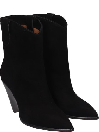 The Seller Low Heels Ankle Boots In Black Suede