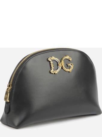 Dolce & Gabbana Necessaire Made Of Calfskin With Baroque Dg Logo