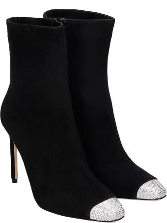 Giannico Lauren  High Heels Ankle Boots In Black Suede