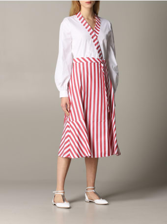 Stella Jean Dress Stella Jean Poplin Dress With Striped Skirt