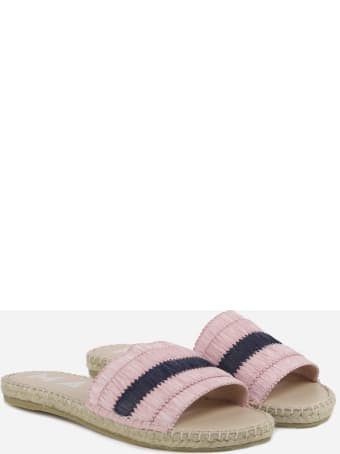 Manebi Flat Sandals In Raffia With Fringes
