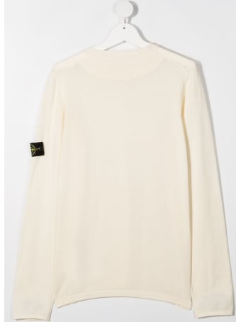 Stone Island Junior Cotton Sweater With Logo Patch
