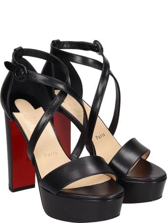 Christian Louboutin Loubi Bee Sandals In Black Leather