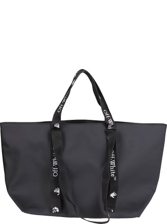 Off-White Black Canvas Quote Tote Bag