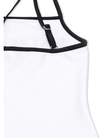 Balmain Black And White Two-tone Logo Print Swimsuit