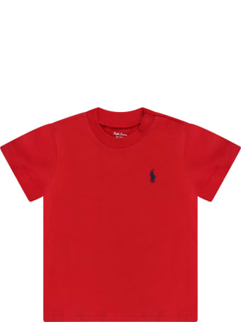 Ralph Lauren Red T-shirt For Baby Boy With Blue Iconic Pony Logo