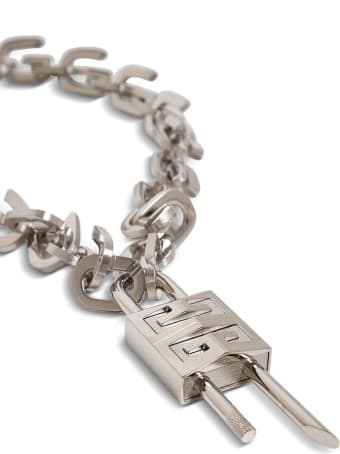 Givenchy Metal G Link Necklace With Padlock