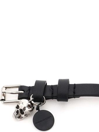 Alexander McQueen Pionier Double Wrap Bracelet With Logo