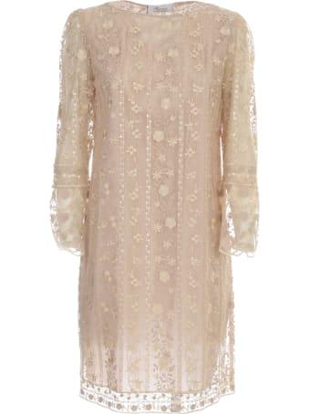 Blumarine Straight Dress L/s Crew Neck W/lace