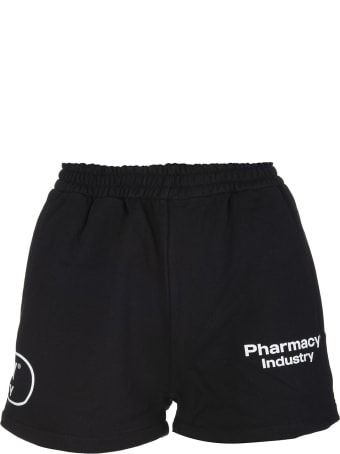 Pharmacy Industry Woman Black Shorts With Logos