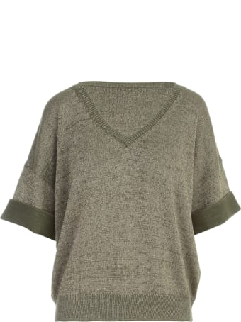 Base Lurex V Neck S/s Sweater