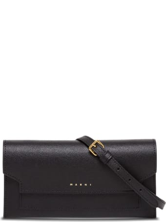 Marni Crossbody Bag In Grained Leather With Logo