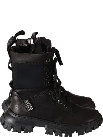 Cinzia Araia Black Boots For Kids With Logo