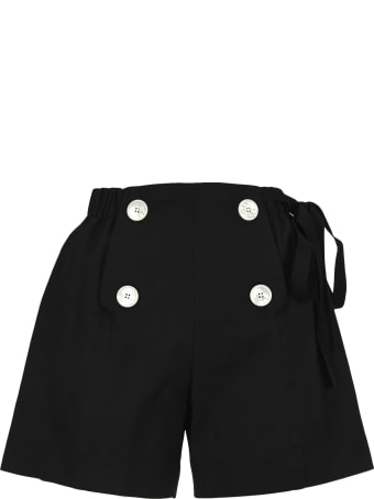 Prada Button Detail Cotton Shorts