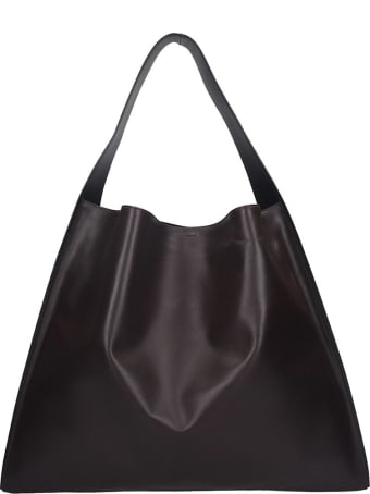 Jil Sander Border Hobo Tote In Brown Leather