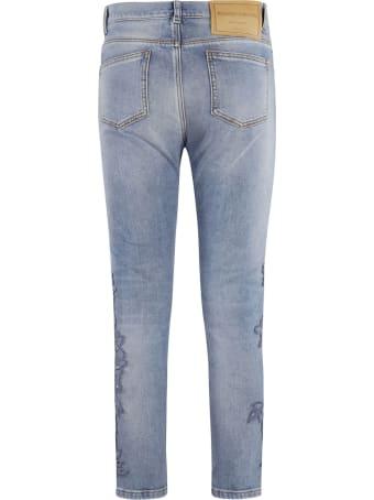 Ermanno Scervino Floral Applique Cropped Jeans