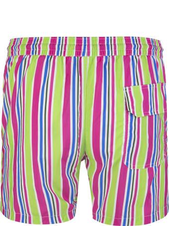 Capri Code Green And Fuchsia Striped Swimsuit
