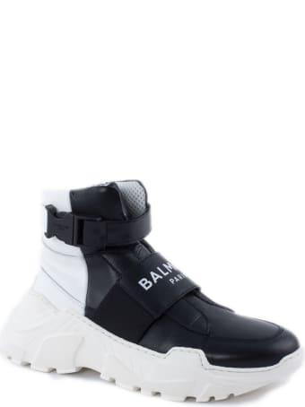 Balmain Black Leather High Top Trainers