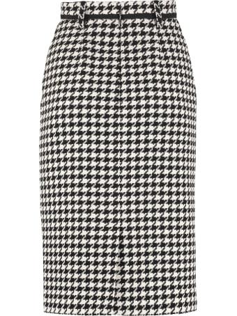 MSGM Houndstooth Check Pencil Skirt